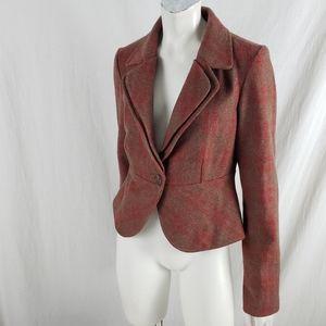 Tulle Peplum Wool Jacket Double Lapel Plaid